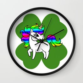Unicorn On 4 Leaf Clover - St. Patricks Day Wall Clock