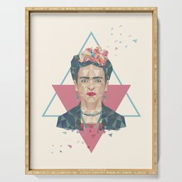 Pastel Frida - Geometric Portrait with Triangles Serving Tray