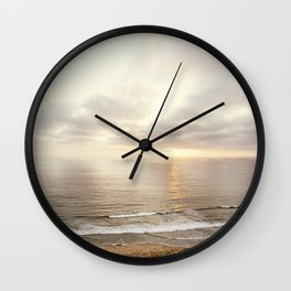 Neutral Sunset Pacific Ocean Photography, Brown Grey Seascape, California Coast Sea Landscape Wall Clock