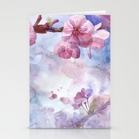 "sakura Stationery Cards featuring ""Sakura"" by Emma Reznikova"