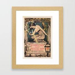 Italian art nouveau street gas lighting ad Framed Art Print