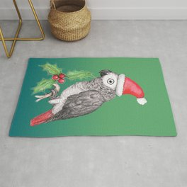 Christmas African grey parrot Rug