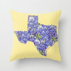 Texas in Flowers Throw Pillow