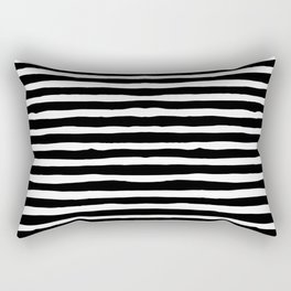 Horizontal Stripes - Black and White Rectangular Pillow