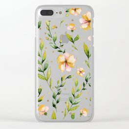 Gold forest green mustard yellow floral polka dots Clear iPhone Case