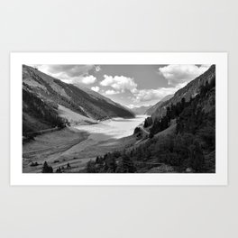Gepatsch Reservoir Kaunertal Glacier Austria Alps Landscape black white Art Print