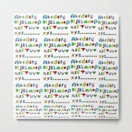 alphabet2-alphabet,letters,child,language,fun,abc,abcdefg,symbols,abecedarium,script,write,writing Metal Print