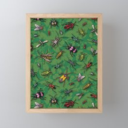 Bugs & Insects on Green Floral Background Framed Mini Art Print