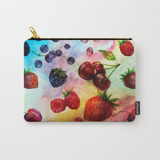 Summer fruits- Fresh strawberry berry pastel pattern Carry-All Pouch