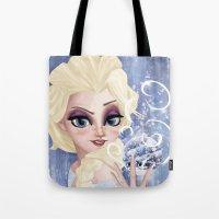 frozen elsa Tote Bags featuring Elsa - Frozen by WhiteeChess