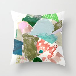 Abstract Blue Green Orange Mixed Media Collage Throw Pillow