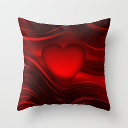 Red heart 16 Throw Pillow