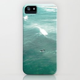 California Surf // Coastal Spring Waves Teal Blue and Green Ocean Huntington Beach Views iPhone Case