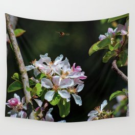 Pollinating Bee visiting the flowers Wall Tapestry