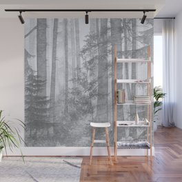 Gray Misty Forest Wall Mural