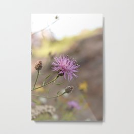 Purple Flowers Vintage on the Beach Metal Print