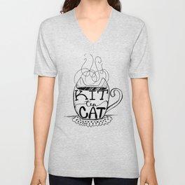 Kittea Cat - Tea Lover - Cat Lover - Mug Cup Lettering - Line Art Unisex V-Neck