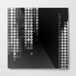 Shades Of Grey Dot Pattern - Syfy - Black & White - Matrix Metal Print