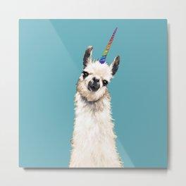 Unicorn Llama Blue Metal Print