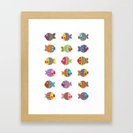 Fish Collection Brightly Colored Framed Art Print
