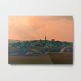 Hazy scenery with beautiful village skyline | landscape photography Metal Print