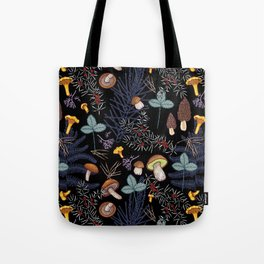 dark wild forest mushrooms Tote Bag