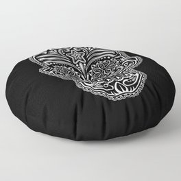 Intricate White and Black Day of the Dead Sugar Skull Floor Pillow
