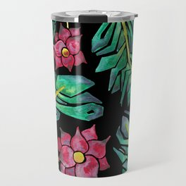 black tropical watercolor floral Travel Mug