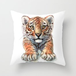 Playful Tiger Cub 907 Throw Pillow