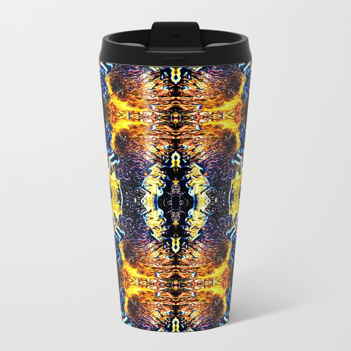 Mystic Yellow Blue Ornament Pattern Metal Travel Mug