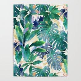 Golden Summer Tropical Emerald Jungle Poster