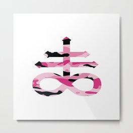 Satanic Cross Pink Camo Metal Print