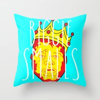 biggie smalls Throw Pillows featuring Biggie Smalls by Hussein Ibrahim