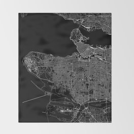Vancouver Black Map Throw Blanket
