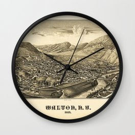 Aerial View of Walton, New York (1887) Wall Clock
