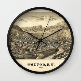 Aerial View of Walton, New York (1887) Wall Clock