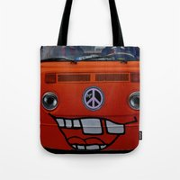 volkswagen Tote Bags featuring funny volkswagen by gzm_guvenc