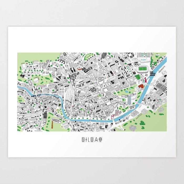 BILBAO HAND DRAWN MAP Art Print