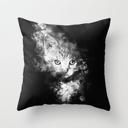 abstract young cat wsbw Throw Pillow