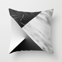 Monochromatic Marble Collage  Throw Pillow