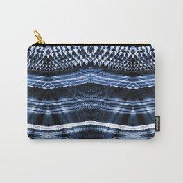 Dark blue indigo ethnic striped shibori Carry-All Pouch