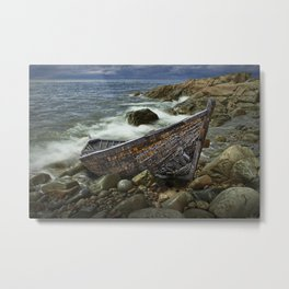 Abandoned shipwrecked Boat Metal Print