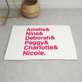 Female Djs  Queens.  Amelie, Nina, Nina, Deborah, Peggy, Charlotte and Nicole  - Designed for Techno Rug
