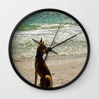 shiba Wall Clocks featuring Shiba Inu by Blue Lightning Creative
