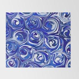 China Blue Paint Swirls Throw Blanket