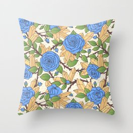 Blue Roses and Crystals Pattern Throw Pillow