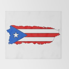 Puerto Rico Map with Puerto Rican Flag Throw Blanket