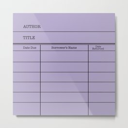 LiBRARY BOOK CARD (violet) Metal Print