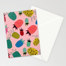 pineapple fun tropical pink Stationery Cards