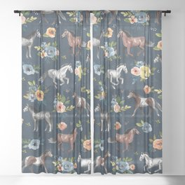 Wild Horses, Horse and Floral Print, Navy Blue, Watercolor Painting, Illustrated Horses, Flowers,  Sheer Curtain